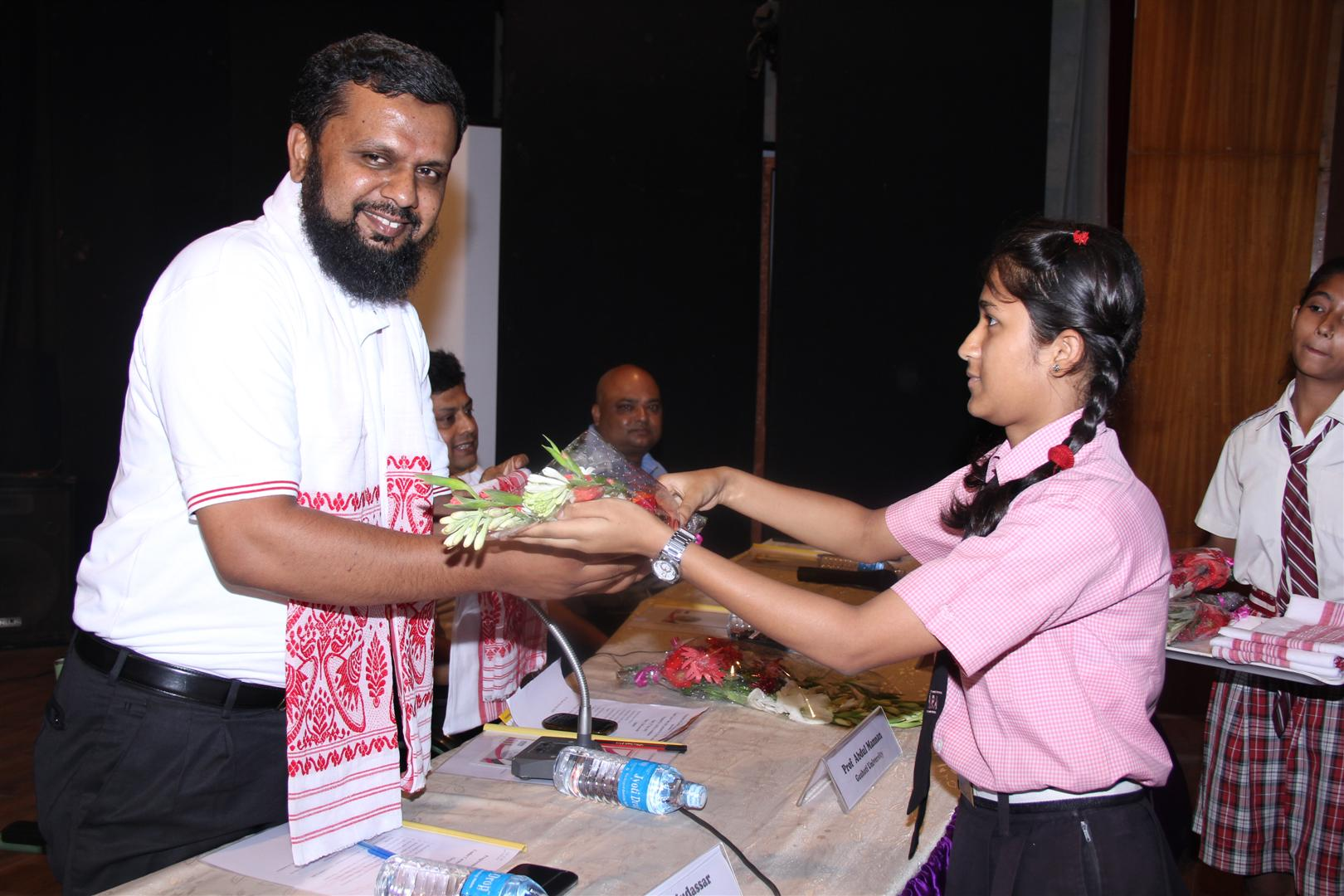 Ameen-e-Mudassar, CEO of Cigma India and an internationally reputed career guidance expert, being welcomed with flowers at the Career Yatra 2015 programme in Guwahati on Tuesday.